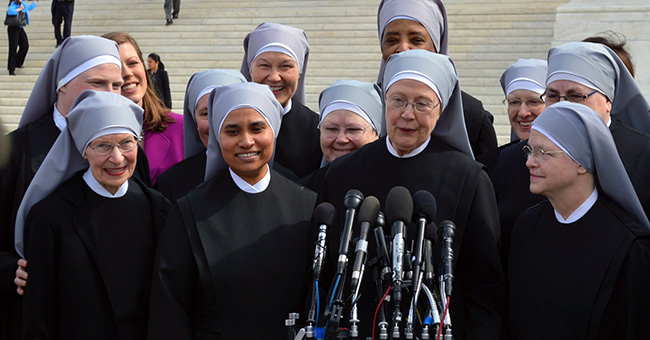 The Little Sisters of the Poor outside the Supreme Court where oral arguments were heard on March 23, 2016 in the Zubik v. Burwell case against the HHS Mandate.