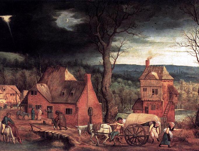"""Cornelis Massijs, """"Arrival of the Holy Family in Bethlehem"""", 1543"""