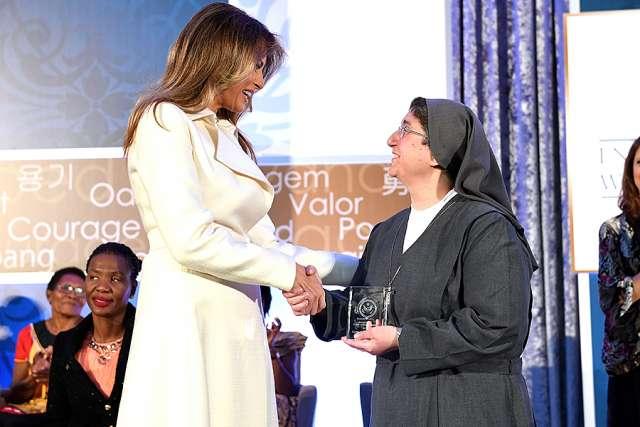 First Lady Melania Trump and Sister Carolin Tahhan Fachakh of Syria