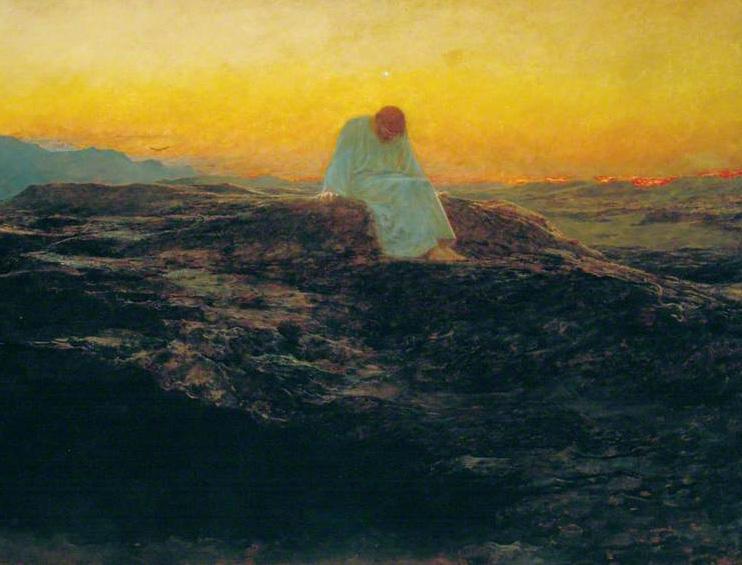 """Briton Rivière (1840-1920), """"The Temptation in the Wilderness"""""""