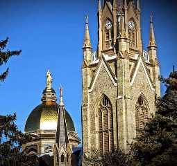 The University of Notre Dame's Basilica of the Sacred Heart in the forefront as well as the Golden Dome in the background.