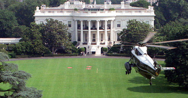 Marine One arrives at the South Lawn of the White House