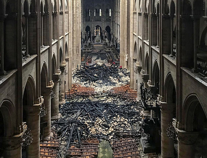 A picture taken on April 16, 2019, shows an interior view of the Notre-Dame Cathedral in Paris in the aftermath of the fire.