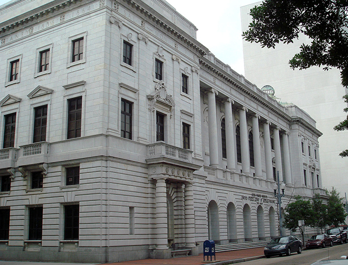 The John Minor Wisdom U.S. Courthouse in New Orleans, Louisiana is the home of the United States Court of Appeals for the Fifth Circuit.