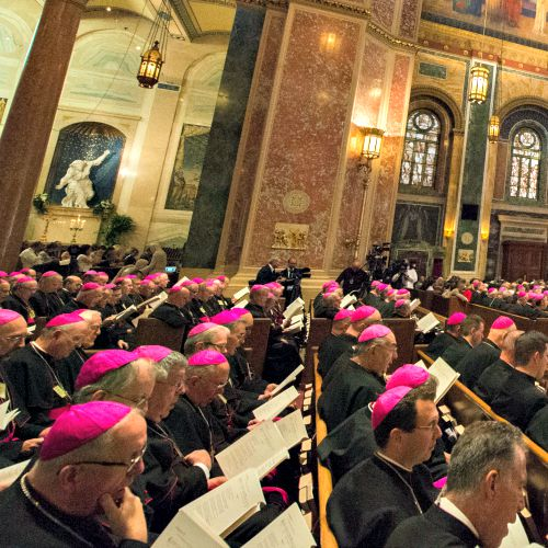 Pope Francis meets with U.S. bishops in St. Matthew's Cathedral in Washington on Sept. 23.