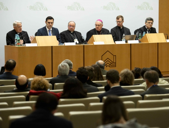 Participants at the Vatican abuse summit brief the media Feb. 21.