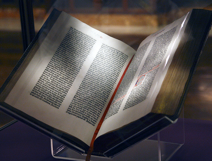 Gutenberg Bible on display at the New York Public Library