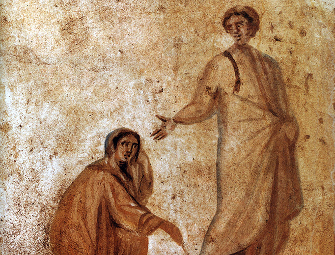 """""""If I just touch his clothes, I will be healed."""" The healing of the bleeding woman is depicted in the Catacombs of Marcellinus and Peter in Rome. (Mark 5, Matthew 9, Luke 8)"""