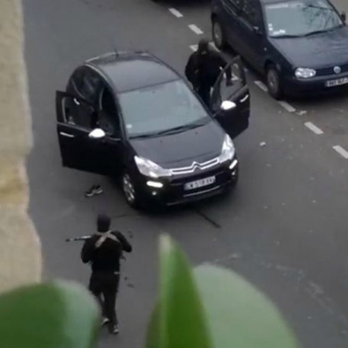 A still image from an amateur video posted on YouTube shows a moment of the assault on satirical newspaper Charlie Hebdo on Jan. 7.