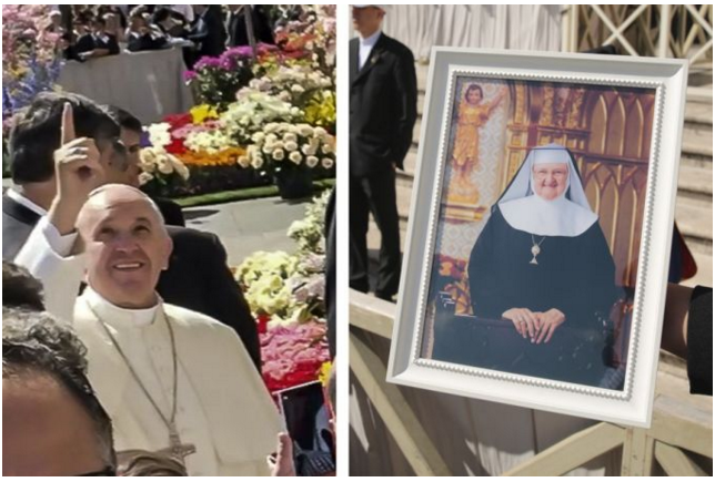 Pope Francis offers a special blessing for the repose of Mother Angelica's soul during his general audience March 30, 2016.
