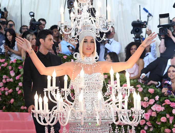 """Katy Perry arrives May 6, 2019, for the 2019 Met Gala (""""Camp: Notes on Fashion"""") at the Metropolitan Museum of Art in New York City."""