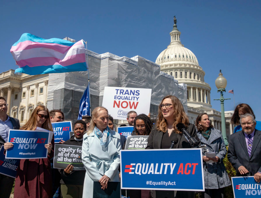 A group of activists rallies April 1, 2019, at the U.S. Capitol in Washington, D.C., to mark the International Transgender Day of Visibility and the introduction of the pro-LGBTQ Equality Act.