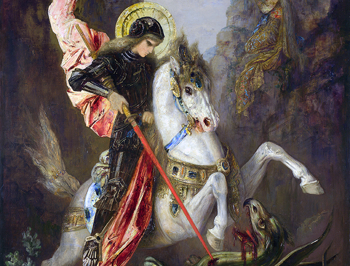 """Gustave Moreau, """"Saint George and the Dragon,"""" c. 1889"""