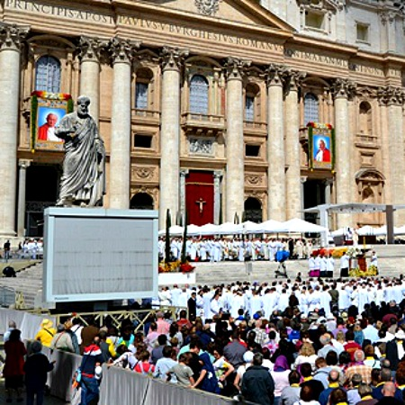Cardinal Angelo Comastri celebrates a Mass of thanksgiving for Pope St. John Paul II April 28 in St. Peter's Square.