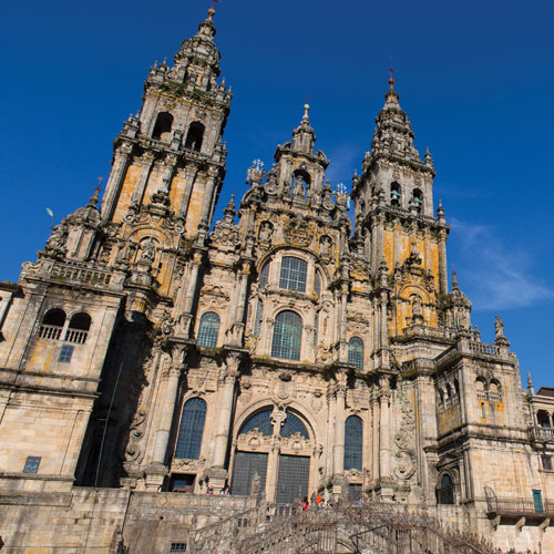 The historic shrine of St. James (Santiago de Compostela) in Galicia, northern Spain, is shown along with pilgrims walking 'The Way.'