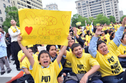 IN SUPPORT. Students from Sacred Heart School in Washington participate in a May 2009 rally at the city's Freedom Plaza to support the D.C. Opportunity Scholarship Program, a voucher program that provides grants for private school tuition.