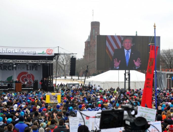 President Donald Trump addresses the March For Life in Washington DC with over 100,000 people attending the largest pro-life march in the world, January 18, 2019.