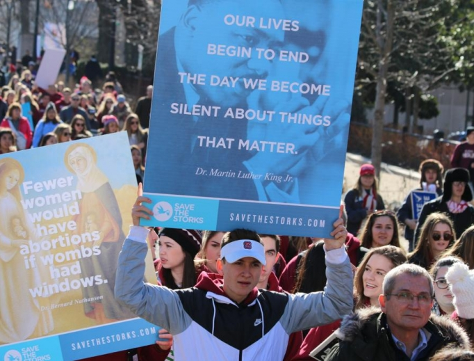 Signs for life at the 45th annual March for Life in Washington, D.C., Jan. 19.
