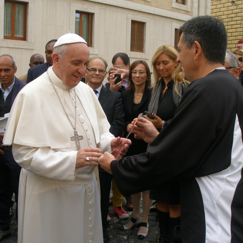 Ray McKenna, the founder of Catholic Athletes for Christ, meets Pope Francis at the Vatican on Oct. 21, 2013.