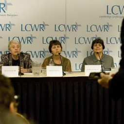 Sisters Sandra Schneiders, Nancy Conway and Rebecca Ann Gemma at a press conference during the LCWR annual assembly.