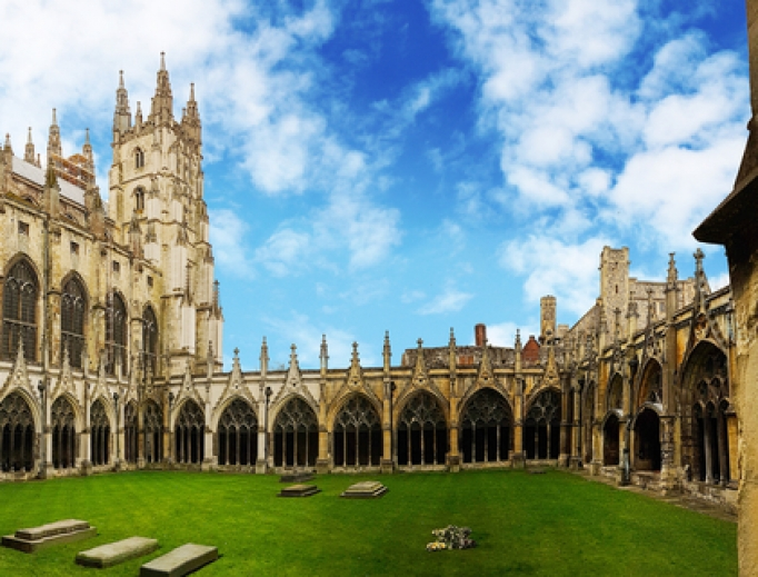 Canterbury Cathedral Cloister in Kent, United Kingdom.