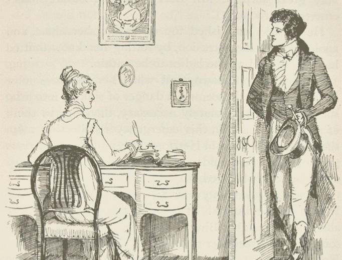 "Hugh Thomson, ""Darcy and Elizabeth from 'Pride and Prejudice' (Ch. 32)"", 1894"