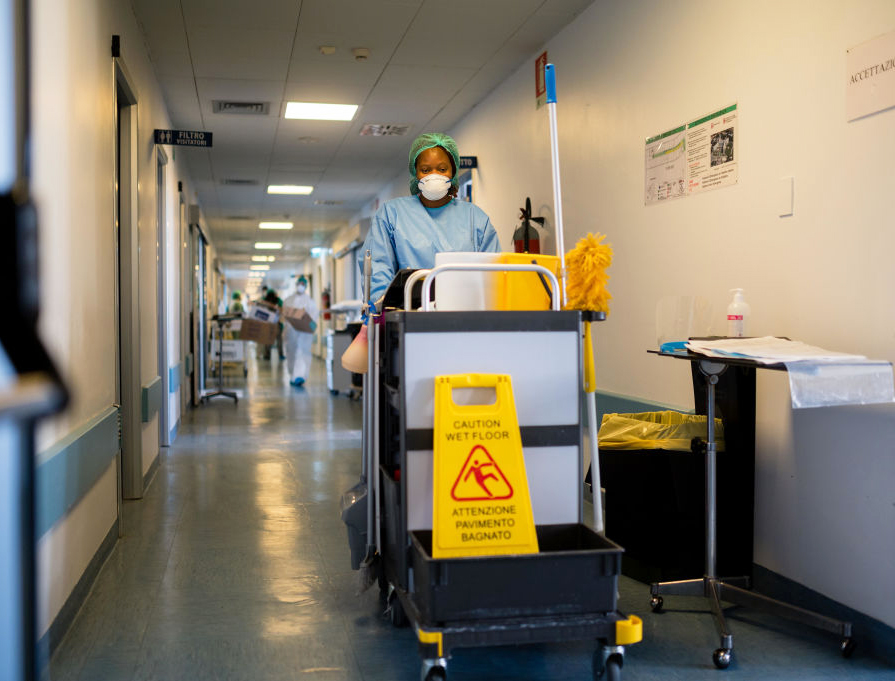 A janitor works in a COVID-19 ward at Cremona Hospital on April 2, 2020, in Cremona, Italy.