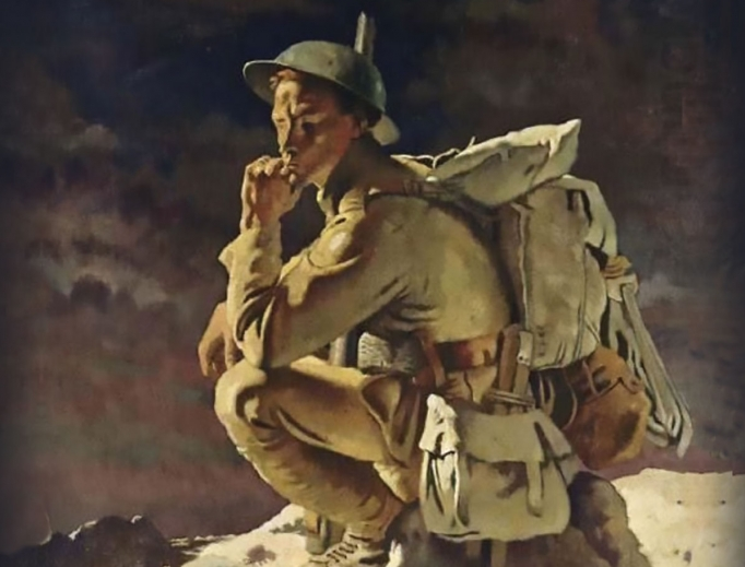 Play poster, focused on World War I soldier image