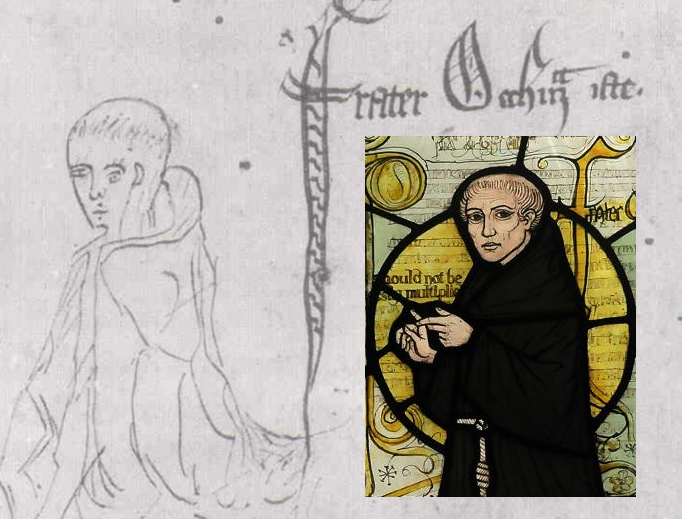 Main picture: Sketch of William of Ockham labeled 'frater Occham iste'. (From a manuscript of Ockham's 'Summa Logicae', MS Gonville and Caius College, Cambridge, 1341.) Inset: From stained glass window at a church in Surrey.
