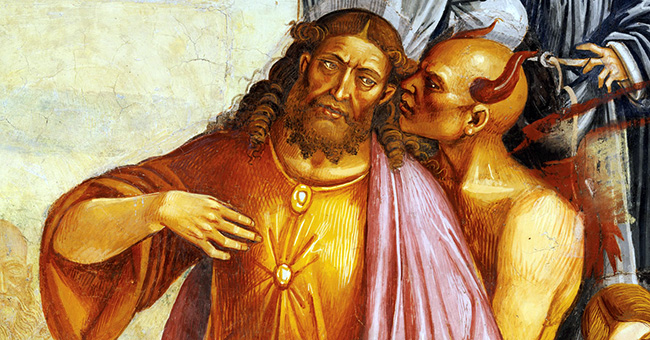 "Luca Signorelli, ""Deeds of the Antichrist"" (c. 1501). Note the lack of wounds in the hands of the Christ-like figure. This is the artist's way of indicating that he is actually the Antichrist."