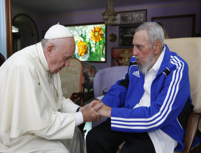 Pope Francis met briefly with Fidel Castro in Havana, Cuba, on Sept. 20, 2015.