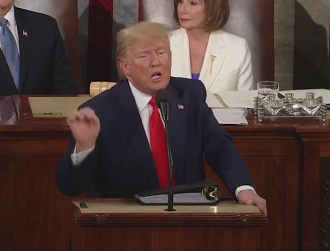 President Trump addresses the nation in his State of the Union address, February 4, 2020.