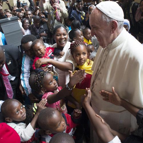 Pope Francis visits the poor in the Kangemi neighborhood of Nairobi, Kenya, on Nov. 27.