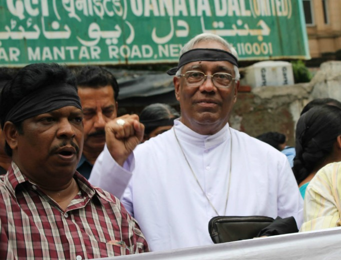 Archbishop Cheenath leads a protest in New Delhi on the second anniversary of anti-Christian violence in Kandhamal on Aug. 23, 2010, demanding justice for the victims.