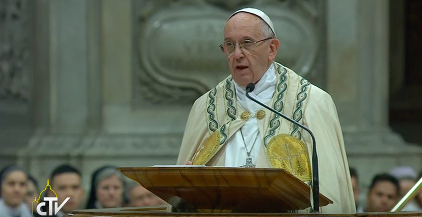 Pope Francis delivering his homily at first Vespers of the Solemnity of Mary Mother of God in St. Peter's basilica this evening.