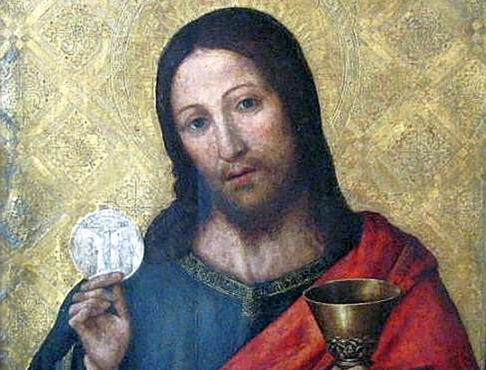 "Paolo da San Leocadio, ""Christ With the Host"", late 15th century"