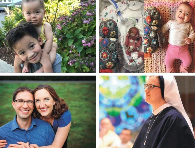 Clockwise from top left: Welcoming new life in the Nguyen and Hampton families, fully living religious life for Sister Madeleine Agnes of the Sisters of Life and married life for the Bartels all reflect the dignity of life amid vocations.