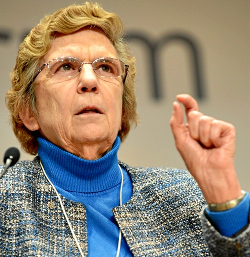 Sister Carol Keehan, president and CEO of the Catholic Health Association, makes a point during the session 'Open forum: Is Religion Outdated in the 21st Century?' at the 2013 meeting of the World Economic Forum in Davos, Switzerland.