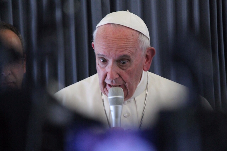 Pope Francis during in-flight press conference on May 13