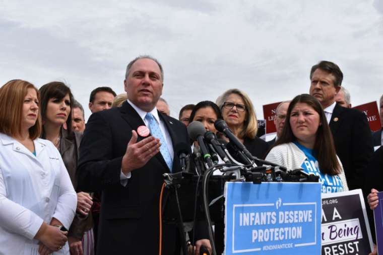 Congressional pro-lifers, led by Rep. Steve Scalise, address a news conference about the Born Alive bill at the Capitol April 2.