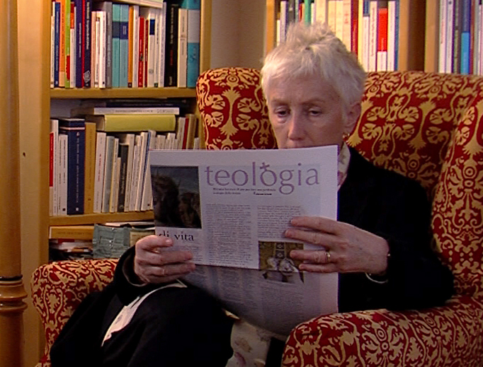 Lucetta Scaraffia reads the special insert on the Theology of Women in L'Osservatore Romano, April 7, 2014.