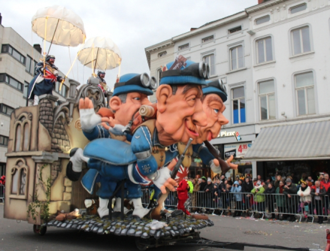Carnival float during the 2019 parade in Aalst.