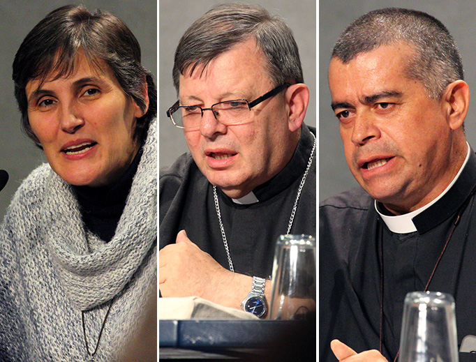Colombian Sister Gloria Liliana Franco Echeverri (L), Brazilian Bishop Wilmar Santin and Colombian Bishop Medardo de Jesús Henao Del Río (R) speak at the media conference following the Oct. 10 session of the Pan-Amazon Synod Assembly.