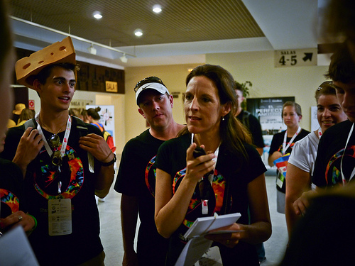 Suzanne Haugh gives instructions before the Madrid Film Fest at WYD 2011.