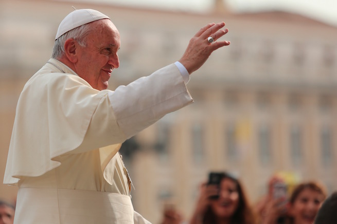 Pope Francis greeting pilgrims during his weekly general audience in St. Peter's Square, Aug. 31, 2016.
