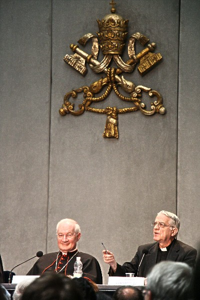 Cardinal Marc Ouellet (left), prefect of the Congregation for Bishops, and Vatican spokesman Father Federico Lombardi, at a press conference July 5th marking the release of Pope Francis' first encyclical, Lumen Fidei.