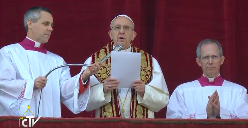 Pope Francis delivering his Christmas Message from the loggia of St. Peter's basilica, Dec. 25, 2016.