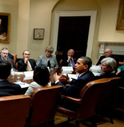 President Barack Obama and HHS Secretary Kathleen Sebelius meet with health-care stakeholders at the White House on May 11, 2009.