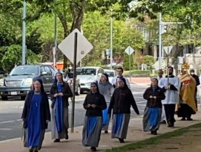 Eucharistic procession on Divine Mercy Sunday from Holy Comforter-St. Cyprian Catholic Church on Capitol Hill.