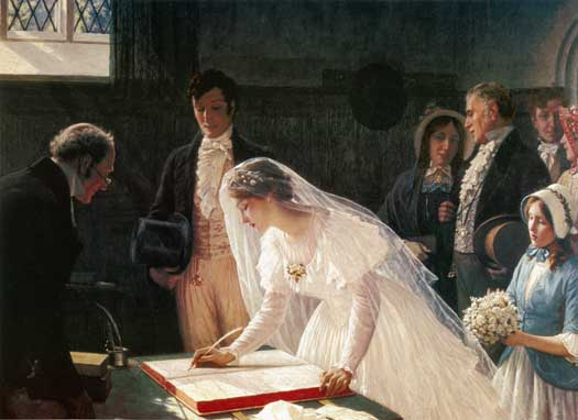 "Edmund Leighton (1853-1922), ""Signing the Register"""